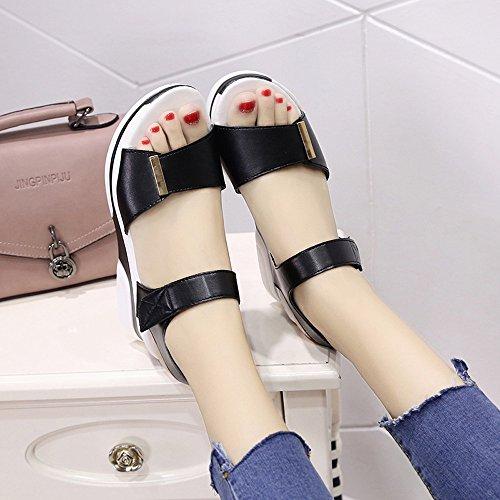 Plates Chaussures Boîte Chaussures Ouvert sans Sandales Dodumi Avec Pour Poisson Compensées De Couleur D'été Bouche D'étudiant Nior Bout Femme Unie À Femmes 6Sww7E