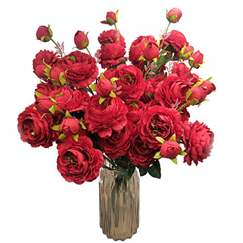 (cn-Knight Artificial Flower 8pcs 24'' Silk Peony Long Stem with 2 Blossoms and 1 Bud Faux Flower for Wedding Bridal Bouquet Bridesmaid Home Décor Office Baby Shower Centerpiece(Dark Red))