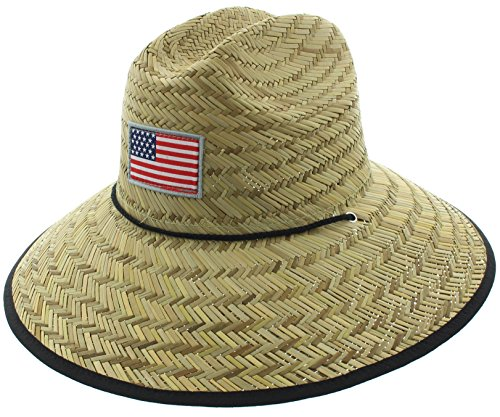 Men's Pierside Sonoma Patriotic Inspired Straw Sun Hat (One Size Fits Most, Flag Bold)