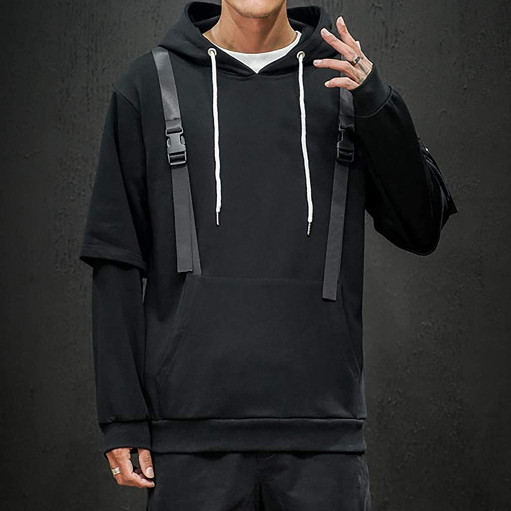 Men Fashion Casual Solid Color Mutil Pocket Hooded Drawstring Sweatshirt Bandage Long Sleeve Tops