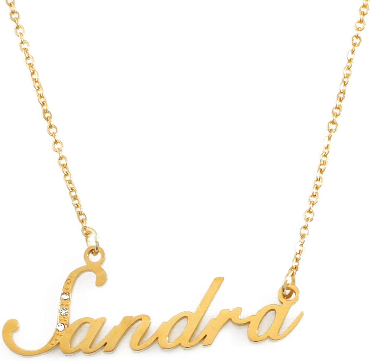 Zacria Italic Name Necklace Rose Crystals Gold Tone Incl