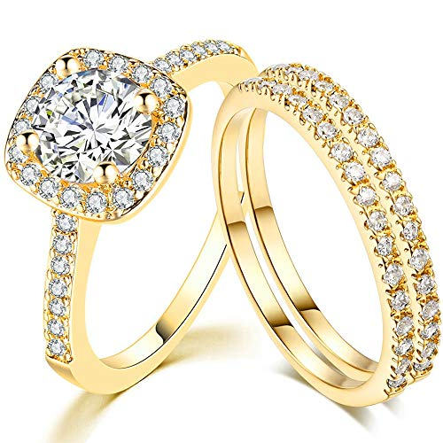 SDT Jewelry Three-in-One Bridal Wedding Engagement Anniversary Statement Eternity Ring Set (Gold, 9)