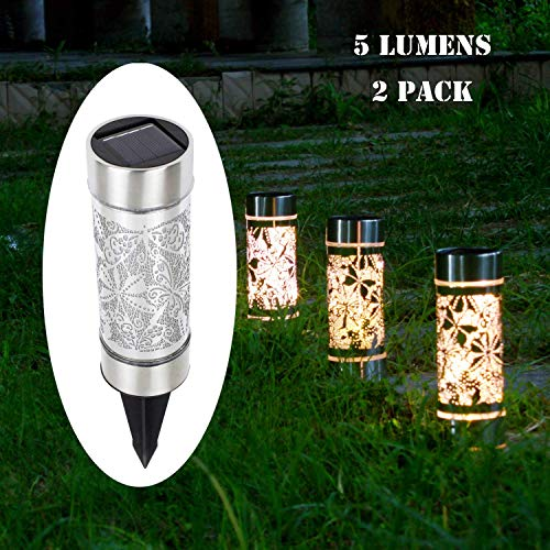 Kaixoxin 2 Pack Solar Bollard Lights Outdoor, 5 LED Stainless Steel Solar Path Lights, Butterfly Dragonfly Fairy Decoration Lights Outdoor Waterproof for Garden,Yard,Lawn,Patio,Walkway ()