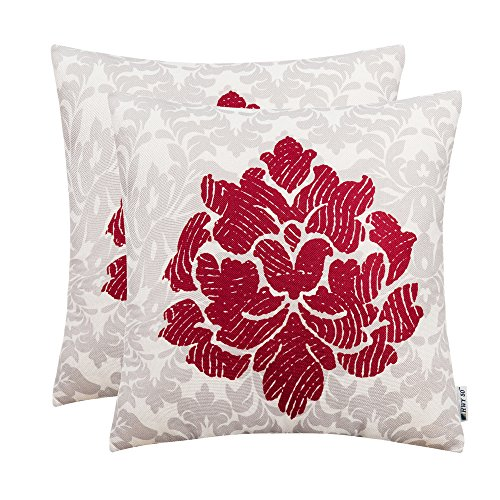 ws Covers 18 x 18 inch, Pack of 2 Thicken Cotton Linen Printing Home Decorative Throw Pillows Cases For Sofa/Bed, Art Bstract Pattern Fingerprint Flower Cushion Covers ()