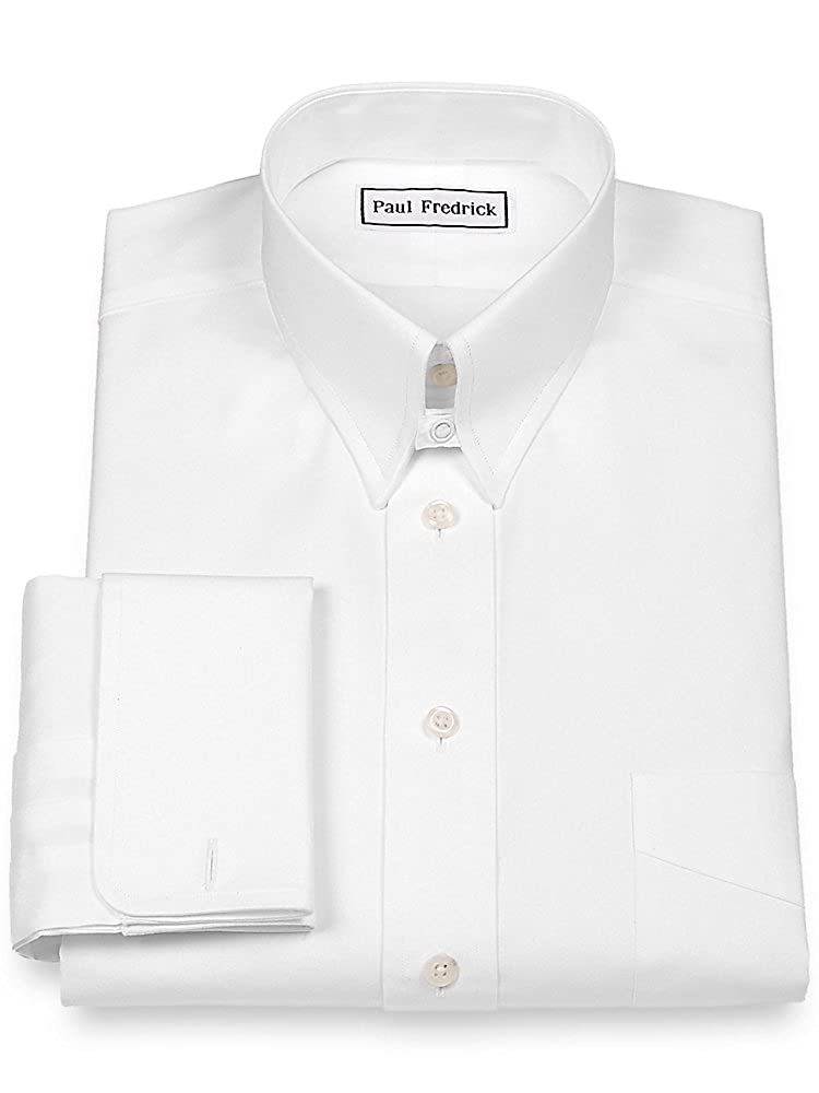 Vintage Shirts – Mens – Retro Shirts Paul Fredrick Mens Pinpoint Snap Tab Collar French Cuff Dress Shirt $94.50 AT vintagedancer.com