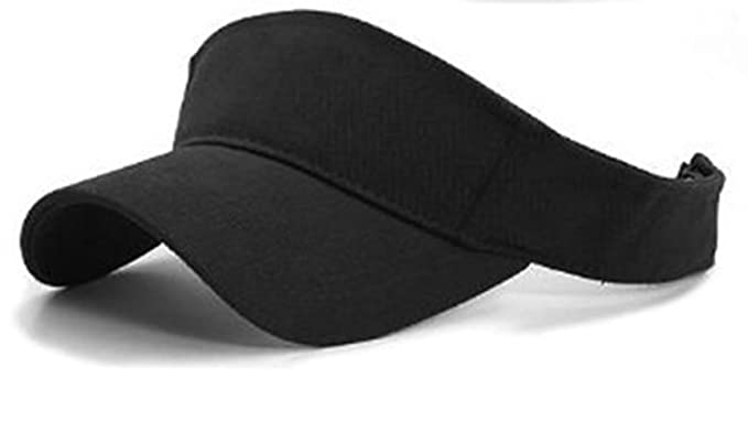 4d1e9530826 Sports Sun Visor Cotton Cap Tennis Golf Adjustable Headband (Black)