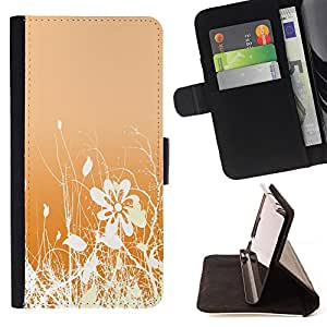 DEVIL CASE - FOR Samsung Galaxy S5 Mini, SM-G800 - Floral Pattern Orange White Flowers Field - Style PU Leather Case Wallet Flip Stand Flap Closure Cover