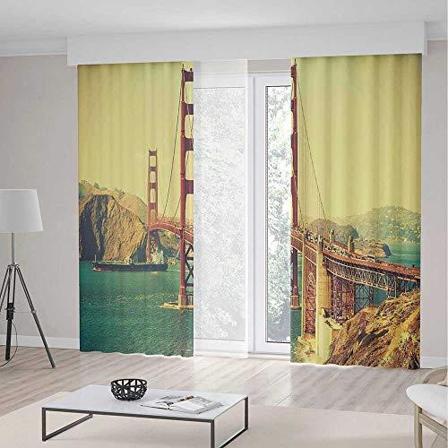 iPrint Blackout Curtains,Vintage,Decor Curtains,Old Film Featured Golden Gate Bridge Suspension Urban Path Construction Scenery,Living Room Bedroom Decor,2 Panel Set,142