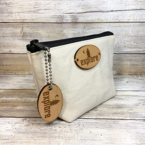 (Explore Denim Canvas Pouch with Matching Key Chain)