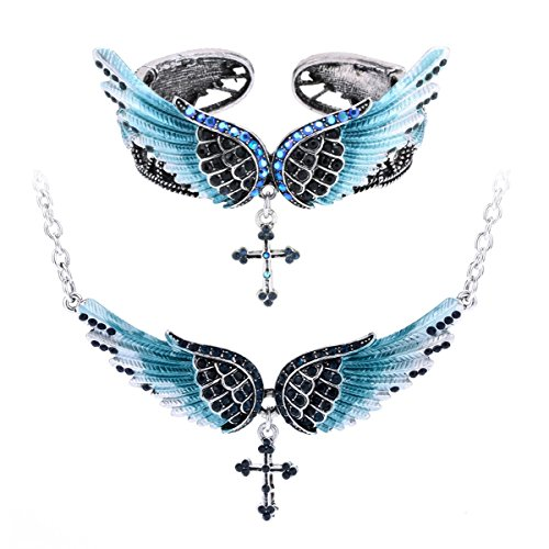 Szxc Jewelry Women's Crystal Angel Wings Cross Pendant Necklace Bangle Bracelet Biker Jewelry Sets ()