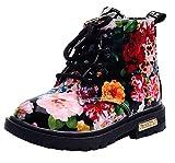 DADAWEN Boy's Girl's Waterproof Side Zipper Lace-Up Ankle Boots (Toddler/Little Kid/Big Kid) Black(Flowers) US Size 6 M Toddler