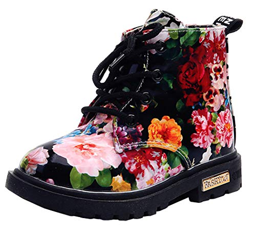 DADAWEN Boy's Girl's Waterproof Side Zipper Lace-Up Ankle Boots (Toddler/Little Kid/Big Kid) Black(Flowers) US Size 6 M Toddler]()