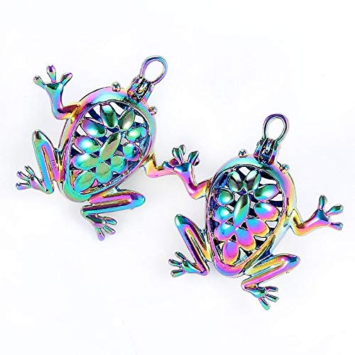 2Pc Rainbow Color Frog Shape Pearl Beads Cage Pendant DIY Jewelry Craft ()
