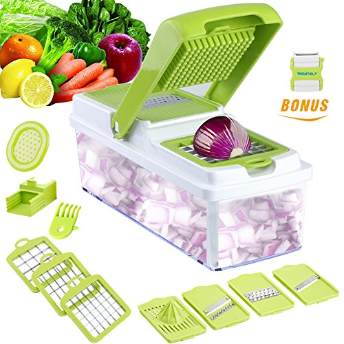 Why would you need this?  Work smarter, not harder in the kitchen with the WEINAS Mandoline Slicer!  Constructed with BPA, PVC and Phthalate FREE material. No longer will you have to chop and dice onions with all the crying, mess, odor, and clean-up....