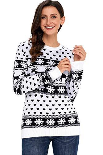 Collo Eleganti Manica Donne Fashion Lunga Schwarz Maglieria Autunno Invernali Adattamento Pullover Neve Jumper Knit Hot Maglie Reindeer Di Classiche Rotondo Donna Maglioni Fiocco Natale qBEwvv