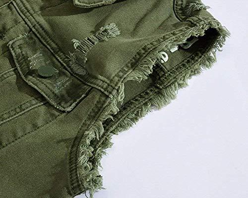 Denim Grün Essentiel Fit Vest Hommes Pour Normale Jacket Coupe Ripped Slim Cowboy Gilet En Sleeveless qx608nppU