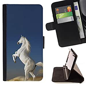 DEVIL CASE - FOR LG G2 D800 - White Horse Desert Wild Magical Unicorn - Style PU Leather Case Wallet Flip Stand Flap Closure Cover