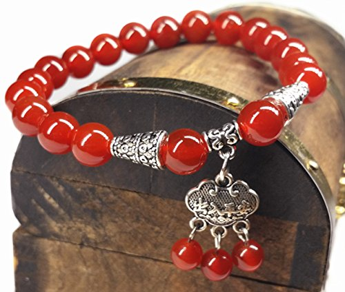 Handmade Agate Red (Feng Shui Handmade Red Agate Beads Bracelet with Wealth Lock (With a Betterdecor Pounch))