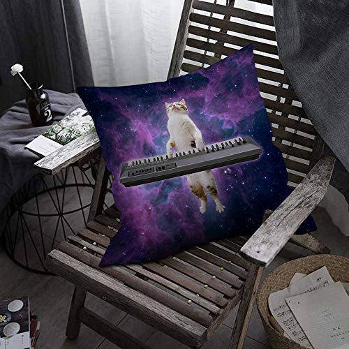 "oFloral Cat Throw Pillow Covers Galaxy Sky Space Kitten Kitty Playing Piano Decorative Square Pillow Case 18""X18"" Pillowcase Home Decor for Sofa Bedroom Livingroom"