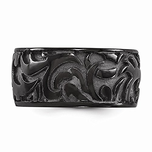 Edward Mirell Casted Black Titanium Carved Designer 11mm Wedding Band - Size 11