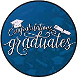 Printing Round Rug,Graduation Decor,College Celebration Ceremony Certificate DiplomaSquare Academic Cap Mat Non-Slip Soft Entrance Mat Door Floor Rug Area Rug For Chair Living Room,Blue and White