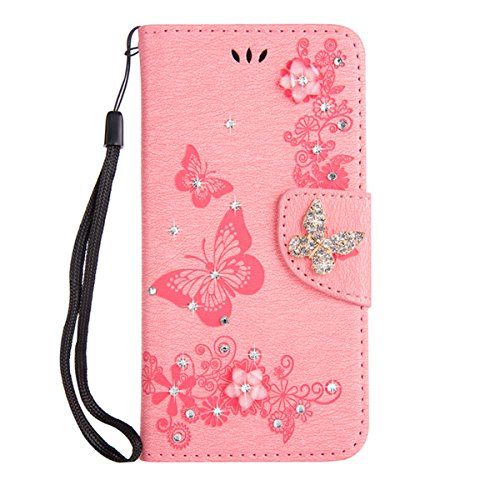 Huskylove Luxury 3D Relief Multi-Function Handmade Bling Rhinestone Soft 2018new Wallet Case for iPhone x/xs XSMax 5.8 6.5 Big Flower Butterfly Leather Case for Girls Women (Pink, ()