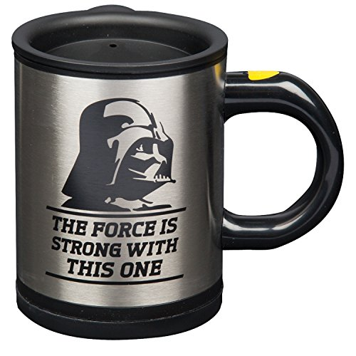 Star Wars Darth Vader 12 oz. Stainless Steel Self Stirring Travel Mug - Mix Your Drink with the Force