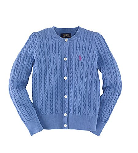 Ralph Lauren Polo Girls Cotton Knit Cable Cardigan Sweater (6X)