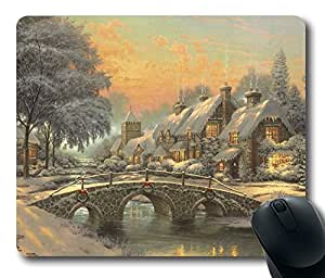Personalized Custom Gaming Mouse Pad Oblong Shaped Classic Christmas Painting Design Natural Eco Rubber Durable Computer Desk Stationery Accessories Mouse Pads for Gift