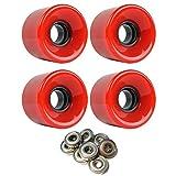 TGM Skateboards Skateboard Cruiser Wheels 59mm x 43mm 83A 186C Red ABEC 7 Bearings