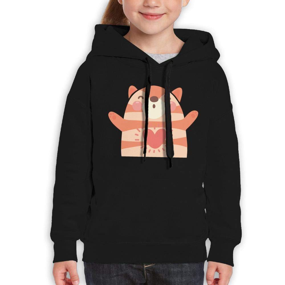Kawaii Tiger Heart Youth Hoodies Print Long Sleeve Sweatshirt Girls