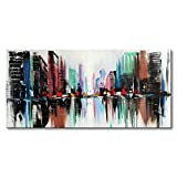Everfun Hand Painted Abstract Canvas Wall Art Color City Modern Oil Painting Texture Cityscape Artwork Home Decoration for Bedroom Living Room Office with Frame