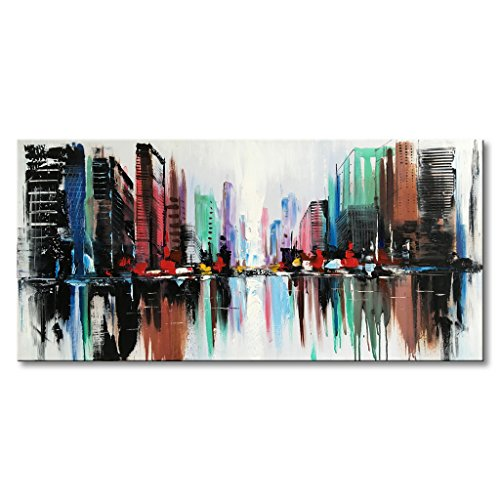 EVERFUN ART Everfun Hand Painted Abstract Canvas Wall Art Color City Modern Oil Painting Texture Cityscape Artwork Home Decoration for Bedroom Living Room Office with Frame by EVERFUN ART