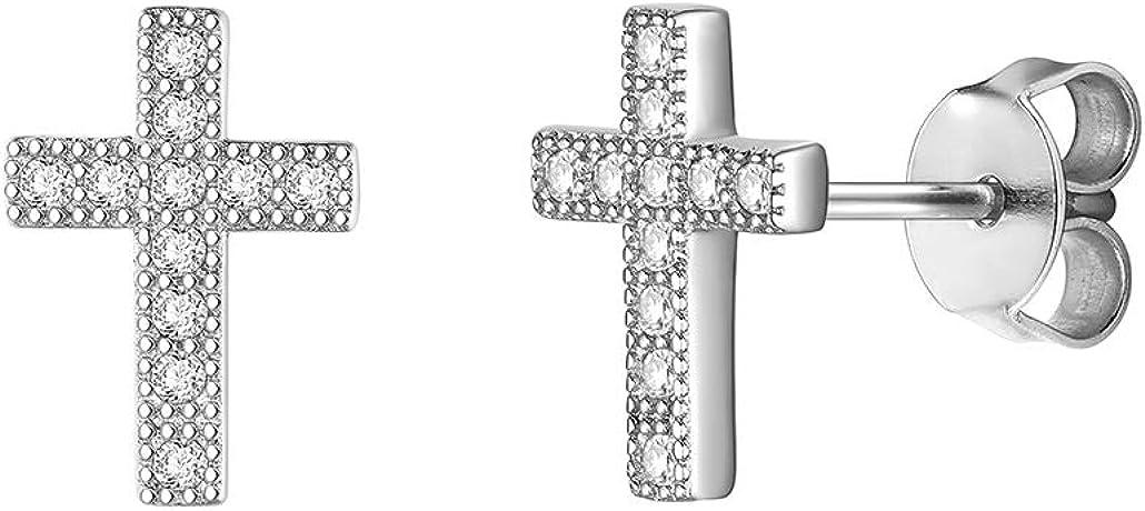 Silvora 925 Plata Pendientes de Botón Cruz Arcoiris Girasol Nopal Flecha Copo de Nieve Pendientes para Mujeres Chicas Gratis caja de regalo
