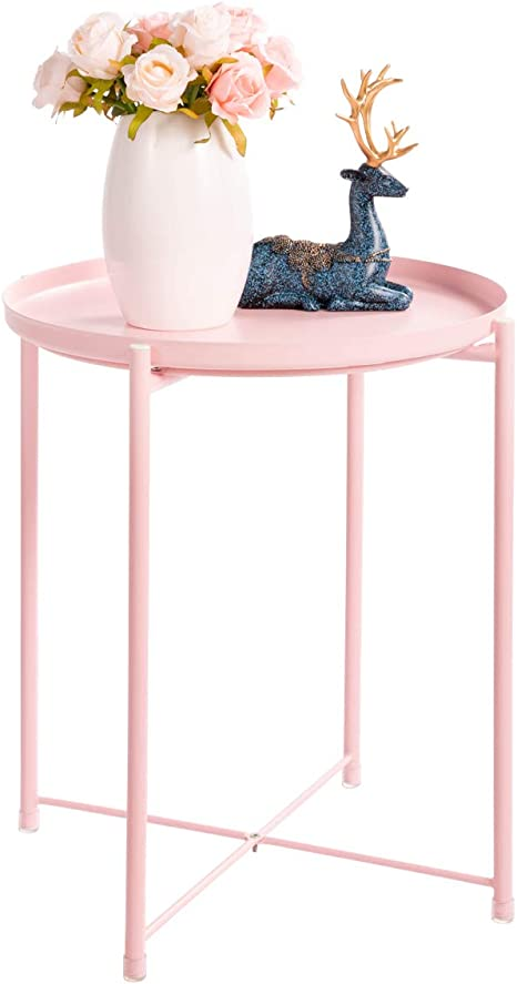 NEW Round Coffee Table Sofa Side Metal Blush Tray Table With Copper Legs