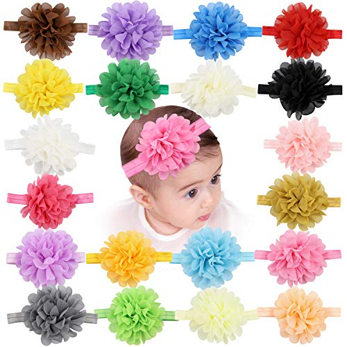 Baby Girls Headbands Chiffon Flower Soft Lace Hair Band Colorful Hairbands Hair Accessories for Newborns Infants Toddlers]()