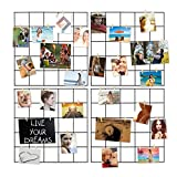 Ecjiuyi 4 Pcs Multifunction Metal Mesh Wire Grid Panel with 30 Clips,Wall Decor/Photo Wall/Ins Art Display & Organizer for Room & Office