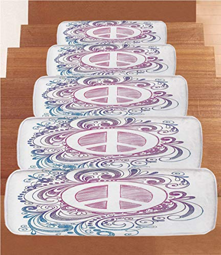 Groovy Decorations Coral Fleece Stair Treads,Stair Tread Mats,Classic Hand Drawn Style Peace Sign and Swirls Freedom Change Hope Roll Icon,(Set of 5) 8.6