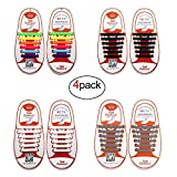Oumers 4 Pairs No Tie Shoelaces for Kids, Lazy Tieless Silicone Shoelaces Rubber Sneaker Shoelaces(1 Pair Black + 1 Pair White + 1 Pair Multicolor + 1xGray)