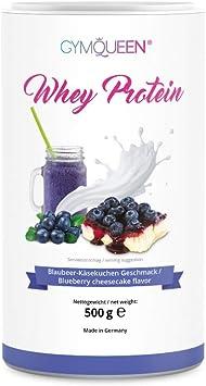 GymQueen Proteína de Whey - Proteína de suero de leche concentrada e aislada, Aros de melocotón, 500 gr.