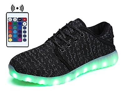 WaltZon Upgraded USB Charging LED Light Up Fashion Sports Flashing Sneaker Shoes for Kids Boys Girls(Toddler,Litter kid,Big kid)
