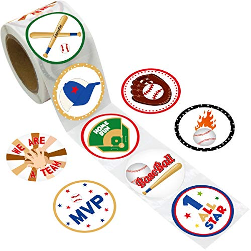 Fancy Land Baseball Stickers Perforated 200Pcs Per Roll for Kids Boys Birthday Baby Shower