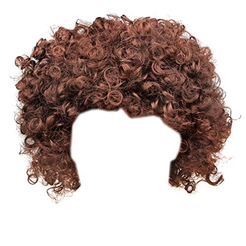 IETANG Afro Fluffy Wig Hair Curl Wigs Synthetic Fiber Hairpiece Party Hair Fan Costume Wig (Brown) -
