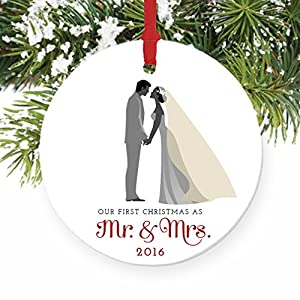 """Bride & Groom Ornament, First Christmas as Mr & Mrs 2016, 1st Married Christmas Porcelain Ornament, 3"""" Flat Circle Christmas Ornament w Glossy Glaze, Red Ribbon & Free Gift Box 