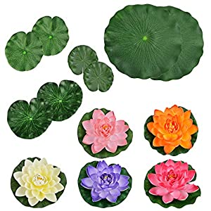 Outgeek 5PCS Artificial Flower Decorative Foam Artificial Plant Fake Floating Flower with Fake Lotus Leaves 90