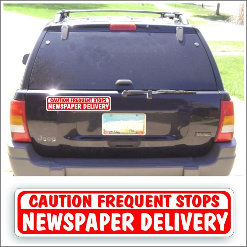 (Solar Graphics USA Magnet Magnetic Sign - Newspaper Delivery Frequent Stops For Delivery Vehicle, Car Or Truck - 3 x 14 inch)