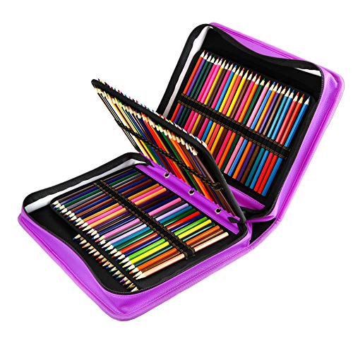 YOUSHARES 180 Slots PU Leather Colored Pencil Case - Large Capacity Carrying Case for Prismacolor Watercolor Pencils, Crayola Colored Pencils, Marco Pens, Gel Pens(Purple) ()