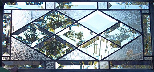 Beveled Diamond Stained Glass Window Panel
