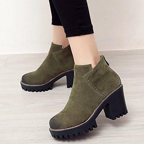 Latasa Kvinna Faux Nubuck Blockera Klack Boots Militärgrön