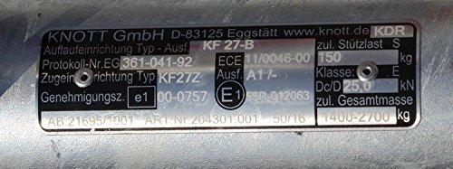 Knott Auflaufeinrichtung KF27-B 2700 kg Ohne St/ützradkonsole f/ür PKW-Anh/änger